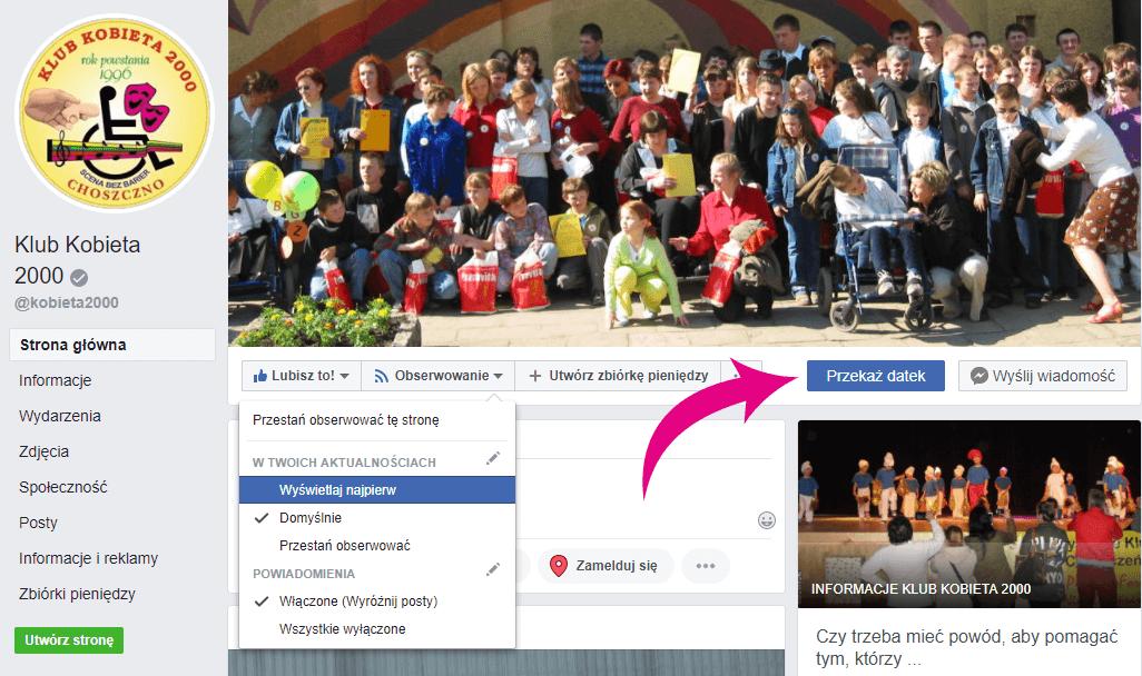 Strona Klubu Kobieta 2000 na Facebooku